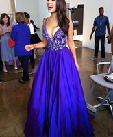 bead art patterns - Royal Blue Prom Dresses Applique Beads Formal Long Satin Evening Gowns With Sexy V Neck Zip Back Floor Length Free Custom Made