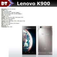 Cheap Original Lenovo K900 cell phone 6.9mm 13M camera Full HD1080p 5.5display dual core 2GHZ 16GB 32GB Intel z2580 CPU