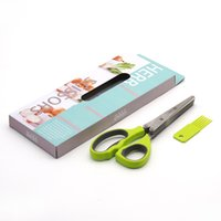 Wholesale Five Layers Vegetables Scissors Green Onion Coriander Stainless Steel Scissor Baby Food Shears Grade Material Kitchen Tool Gadget