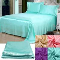 Wholesale Luxury Soft Satin Pillowcases Bedding Sheet Set Pure Color Home Textile Decoration Product Supply CSTZ
