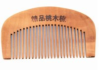 Wholesale Useful Natural Wide Tooth Peach Wood No static Massage Hair Brush Wood Comb On Sale Natural Wooden Engraved Comb Hair Styling Tools