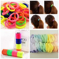girls ponytail holders - Top Quality Seamless Elastic Hair Band Fluorescent Fabric Band Girls Ponytail Holder