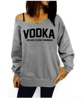 big o model - 12 VODKA explosion models in Europe and America loose big yards letters printed hedging sweater color yards