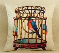 Wholesale 45x45cm Vintage Cotton Linen Chevron Cushion Cover Vintage Bird Cage Pillow Case Home Decorative Textile