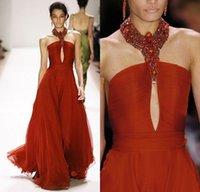 Los cristales rojos rebordearon los vestidos de noche altos del collar Ojos de la cerradura los plisados elegantes Tulle una línea 2016 resorte Monique Lhuillier Vestidos traseros atractivos del partido del baile de fin de curso