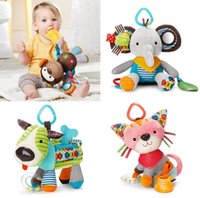 Wholesale 1 colorful Baby RattlesToy bed car Hanging bell Mobiles Soft Cute Animal Plush Doll Dog Monkey Elephant Cat