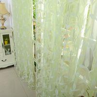 Wholesale Leaf Tulle Voile Door Window Curtain Drape Panel Sheer Scarf Valance Color