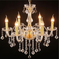 Wholesale Luxury Candle Crystal Chandelier Lustre Clear K9 Crystal Pendant Lamp Modern dining room Drop light Cheap