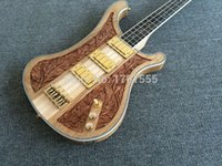 bass wood carving - Custom Natural Wood Neck Through Carved Ricken LK Lemmy Kilmister Limited Strings Electric Bass Guitar
