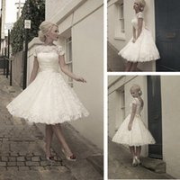 Wholesale 2014 Vintage Short Wedding Dresses Hot Sales Scoop Neckline Cap Sleeve Bow Sash A Line Tea Length Bridal Gowns In Stock W211