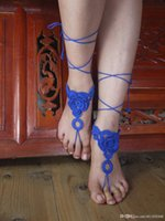 Wholesale Crochet Barefoot Sandals Beach Wedding Yoga Shoes Foot Jewelry Blue Anklet Bellydance Steampunk Beach Pool Gift for her