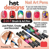 Cheap Hot Designs personality 2in1 nail pen double headed nail polish pencil Manicure artifact Salon#6542