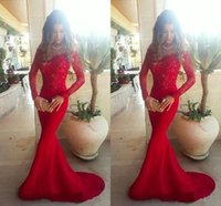 Trumpet/Mermaid allure prom gowns - Allure Red Formal Evening Dresses Mermaid Off Shoulder Lace Appliques Backless Court Train Prom Dresses Satin Party Gowns