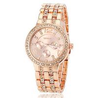 Wholesale 188 Geneva luxury brand watches fashion man women wedding gift rose gold diamonds three eyed steel band quartz watch lady