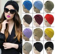 hat band - Top Quality Stretchy Turban Head Wrap Band Sleep Hat Chemo Bandana Hijab Pleated Indian Cap Yoga turban hat Colors Free DHL