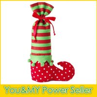 Wholesale 2015 Party Supplies Christmas Holiday Stockings Elf Bags Candy Gift Bag Xmas wedding Decorations Socks Foot Polka Dot Santa Claus Shoe Boot
