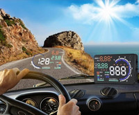 Wholesale US Stock A8 quot Car HUD Head Up Display Vehicle mounted Security System OBD2 Interface Plug Play KM h MPH Speeding Warning