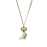 S5Q Femmes Cat Vintage Sexy Girl strass cristal Retro long collier pendentif AAAFIR