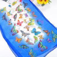 beautiful silk scarves - Women Fashion Butterfly Printed Silk Scarves Branded Pashmina Lady Beautiful High Grade Silk Scarf Wrap Pure Chiffon Shawl