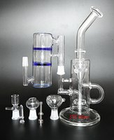 Wholesale Super full Set Water Glass Bongs Smoking Glass Pipes oil rigs Glass bong double recycler mm Joint Inch