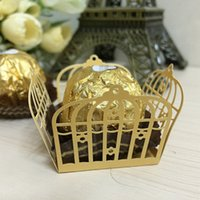 candy packaging supplies - 50pcs golden birdcage flower cupcake wrappers wedding favors chocolate bar packaging box birthday party decorations kids gifts