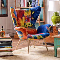 Wholesale Odd ranks yield Cady pop style furniture imported fabric tie dyed fabric Armchair Chair n