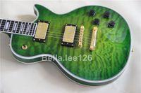 Wholesale custom guitar green quilted top gold hardware mahogany wood handmade OEM Chinese guitarra
