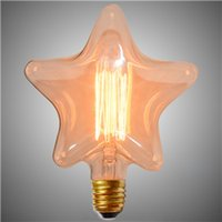 Wholesale Heart shaped Romantic Light Bulb h Edison Vintage Stars Straight Wire Incandescent Bulbs Party Festival Home Deco Bulbs