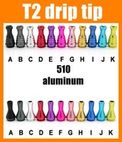 Wholesale Drip tips T2 drip tip aluminum metal driptips for e cigarette atomizer good quality mouth tips FJ195