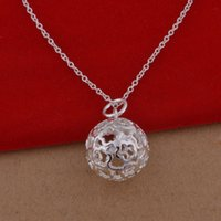 ball spots - 925 sterling silver necklace Korean version of the popular streaky hollow ball necklace jewelry trade large spot