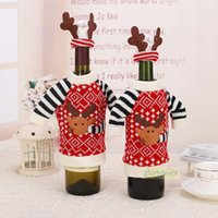 antler table - Christmas Deer Clothes with Antler Hat Wine Bottle Cover Festivals Home Holiday Table Dinner Party Gift Santa Decoration New