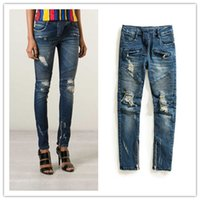 acrylic side panel - 2015 BALMAIN Womens Blue Distressed Ribbed Zip Moto Skinny Denim Jeans Brand New Sz