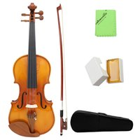 Wholesale High Quality Full Size Violin Natural Acoustic Solid Spruce Flame Maple Veneer Fiddle with Case Rosin Wiper Christmas Gift I1528