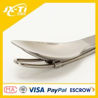 Wholesale Baoji JIAXINTI Outdoor folding titanium spoon polished rustless Highly durable titanium camping tableware with factory priice