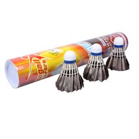 Wholesale 12PCS Goose Feather Badminton Goose Feather Shuttlecocks Outdoor Sports Training Accessories Black