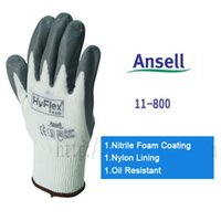nitrile coated gloves - Anti skidding Gloves Ansell Hyflex foam Slip resistant Labour Protection Safty Gloves Oil Resistant oil proof Nitrile Foam Coating