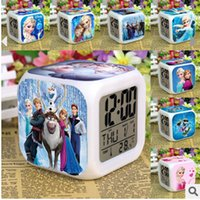 Wholesale Cheap Price New LED Colors Change Digital Alarm Clock Frozen Anna and Elsa Thermometer Night Colorful Glowing Mini Clock
