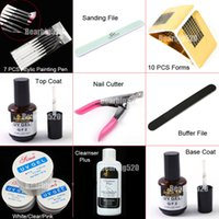 Cheap Wholesale-Nail Art UV Gel Topcoat Primer Base Gel Remover Paint Brush Tool Forms Set Kits