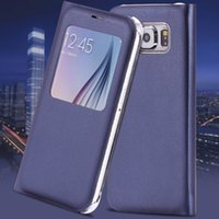affordable leather - For Samsung S6 Window View Case Affordable Luxury PU Leather Flip Cover For Galaxy S6 G9200 G920A G920F Full Protective Shell