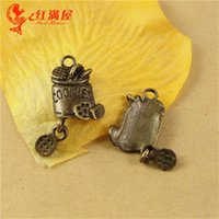 antique biscuit tins - 24 MM Antique Bronze cookies charm pendant bead barrel national retro jewelry DIY jewelry biscuit charm food charm