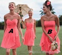 Reference Images A-Line Sweetheart Cheap Real Image A Line Coral Corset Sweetheart Strapless Chiffon Backless Bridesmaid Dresses Cascading Ruffles Pleated Short Prom Gowns