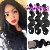 Wholesale 7A Peerless Peruvian Body Wave With Closure Bundles Peruvian Virgin Hair Body Wave With Silk Closure Unprocesssed Human Hair
