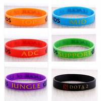 Wholesale LOL Bracelet League of Legend Wristband Silicon Bracelet with ADC JUNGLE MID SUPPORT DOTA Printed Band Z00373
