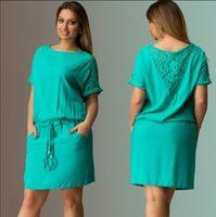 achat en gros de les femmes courtes vert-Femmes Robes d'été Lace Hollow Out Robe verte Robe courte décontractée Grande taille Femmes Vêtements FG1510