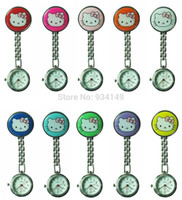 Wholesale Real cute hello kitty nurse alloy Stainless steel pocket watch Medical table nurse chestwatch