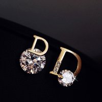 Wholesale Fashionable D Letter Earrings Anti allergy Alloy Zirconia Earring Gem Rhinestone Crystal Stud Jewelry Jewellery