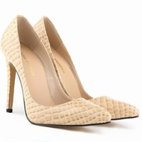 nude pumps - Crocodile Women High Heels Plus Size cm Sexy Bride Pointed Toe High Heels Shoes Nude Black Shoes