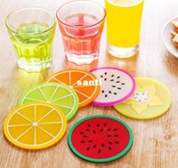 antiskid mat - Fruit shape coasters silicone round coasters heat insulation pad antiskid cup mat