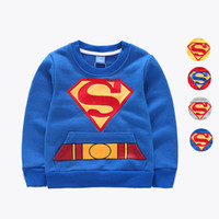 Wholesale Children Superman Sweater Girls Boys Autumn Winter Sweatshirts Cartoon Printed Cotton Yellow Blue Red Gray Pullover