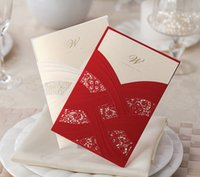 elegant wedding invitations - Lace Hollow Wedding Invitation Cards Red White Laser Cut mm Elegant Chinese Wedding Invitations ZC05